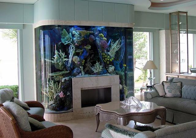 家具と一体となった癒しのアクアリウム画像をお届けします。