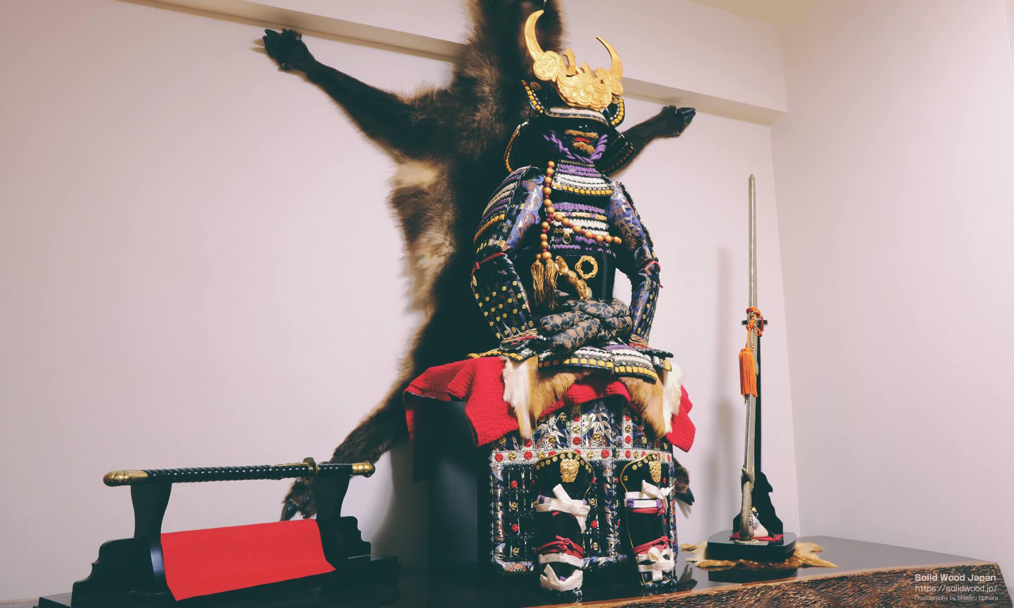 風水用(魔除け用)に設置している甲冑と日本刀